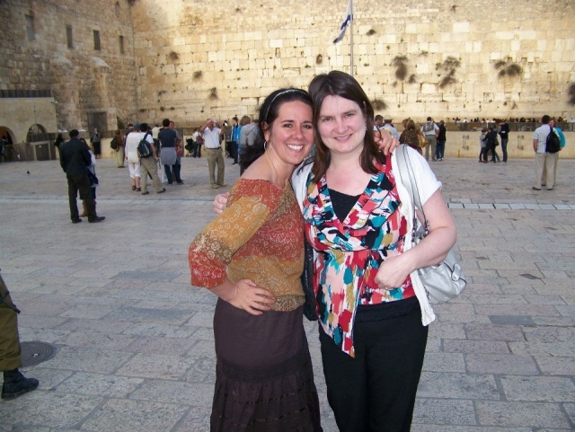 Amy and Heather at the Western Wall in Israel