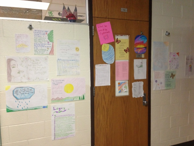 The door leading to my classroom often becomes a canvas for my students' writing.